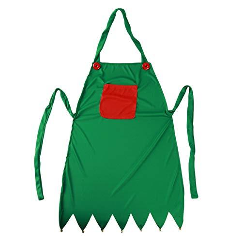 Beafavor Green Knitting Cloth Elven Schürze + Elf Hut Xmas Dinner Party Adult Pinafore Küche Kochen Weihnachtsdekor