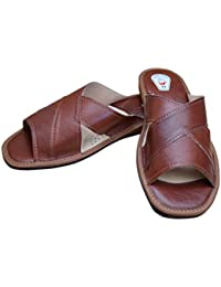 51c283b70ad Mens Leather Slipper Sandals Flip-Flop with Extra Strong Flexible Soles Size  UK 7-