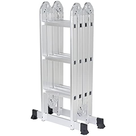 Finether-3.7M Escalera Plegable (12.1FT, Multi-propósito Extensible, Capacidad de 150KG, Buena Calidad, Mayor Seguridad, Aluminio) (Sin