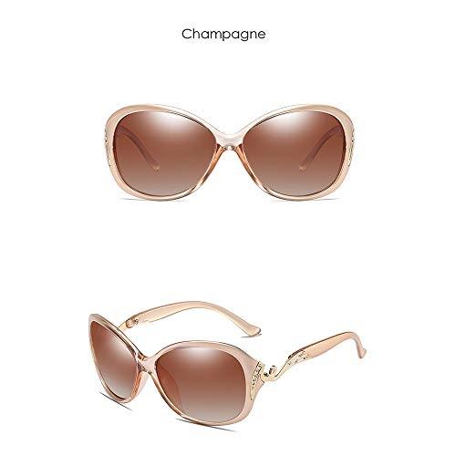 FURUDONGHAI Polarized Diamond PC Substantial UV400 Sonnenbrille Trend Schwarz/Braun/Weinrot/Kaffee/Champagner Damen Anti-UV-Sonnenbrille besonders geeignet für sommerreisen oder Outdoor s