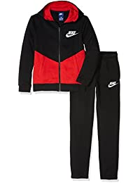 Nike B Nsw Trk Suit Bf Core Chándal, Niños, Negro (Black / University Red / White), M