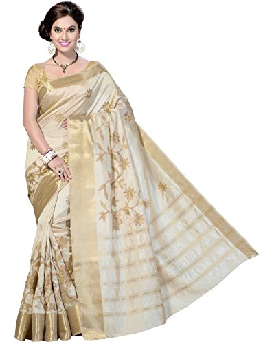 Rani Saahiba Art Silk Saree With Blouse Piece (SKR1079_Off-White_One Size)