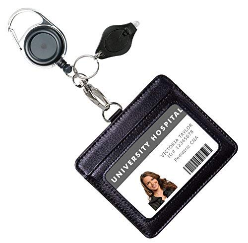 914109d2fc Portafoglio porta badge identificativo in vera pelle con moschettone a  scomparsa, portachiavi e clip in