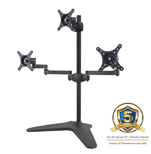 Allcam AMS06L2 Triple LED/LCD Monitor Stand with Heavy Duty Desk Base for three 17-24