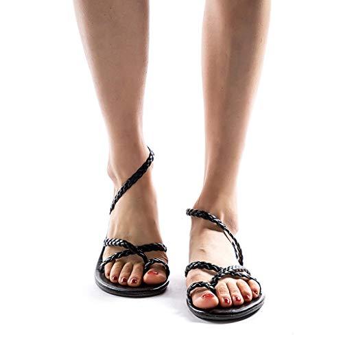 NPRADLA Sandalen Flip Flop Sliper Zehentrenner Damen Frauen, 2019 Frühling Sommer Gewebt Flache Ferse Hausschuhe Strand Römische(40,Schwarz)