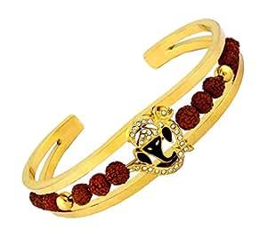 The jewelbox rudraksh american diamond gold meena ganesh men cuff kada Bracelet for Men