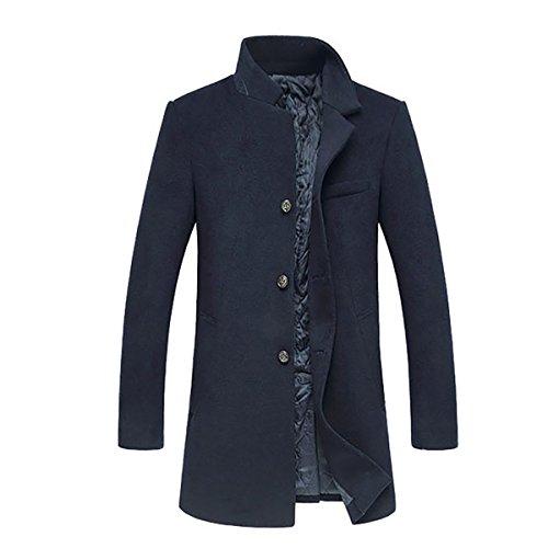 Herren Stilvoller Klassischer Einreihig Geknöpft lang Wollmantel Trenchcoat Mantel Business