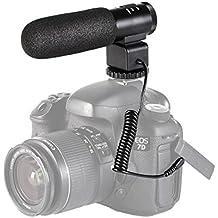 Beschoi Micrófono para Cámara Refléx, Micrófono de Condensador para Cámara DSLR Canon Nikon, Videocámaras, Negro