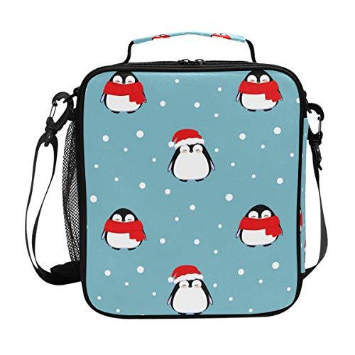CPYang Isolierte Lunchtasche mit Schultergurt, Winter, Schnee, Tier-Pinguin, Lunchbox, Kühltasche mit Schulterriemen für Damen und Herren - Lunch-box Pinguin