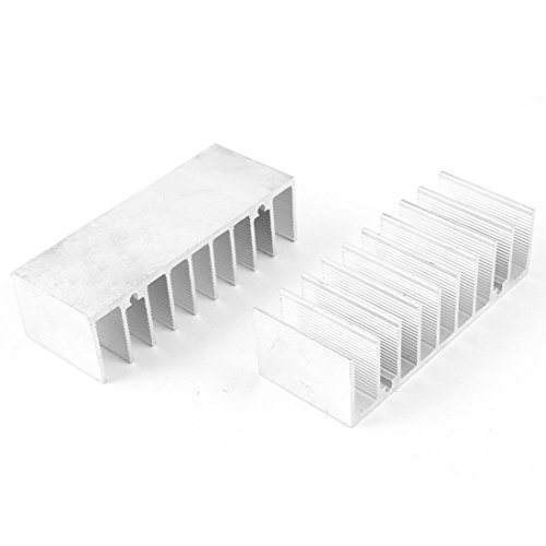 2 Stück Silber Ton Wärme Diffuse Kühlkörper Kühl Fin 76x30x21.5mm