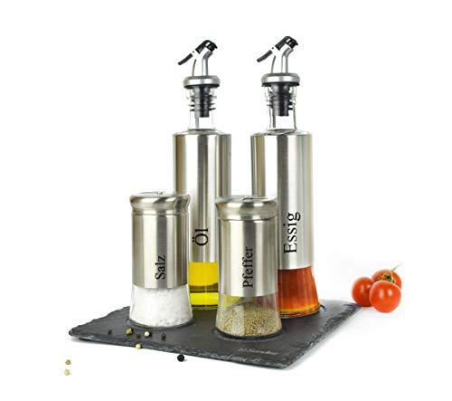 Sendez 5-TLG. Menage Set su Piastra in Ardesia, saliera e pepiera, Olio, acetiera in Acciaio Inox e Vetro