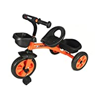 Kids 3 Wheel Pedal Trike - In Orange - with Front and Rear Basket - For Ages 3-5 Years