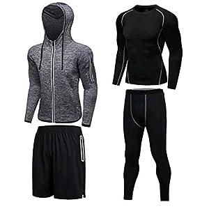 BOHENG Herbst Winter Solid Color Fitness Kleidung Herren Anzug Vier Sets Sport Anzüge Schnelltrocknend Basketball Kleidung Strumpfhose Laufkleidung Fitness Kleidung