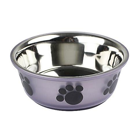 Non Slip Stainless Steel Pet Dog Cat Food Water Feeding Bowl - Paw Design (Purple Medium)
