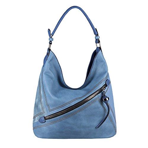 Strand Tasche Tote Handtasche (OBC DAMEN HAND-TASCHE SHOPPER Schultertasche Hobo-Bag Umhängetasche Henkeltasche Nieten (Hellblau))