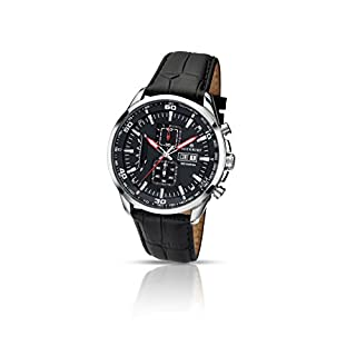 Accurist Men's Quartz Watch with Black Dial Chronograph Display and Black Leather Strap 7004.01