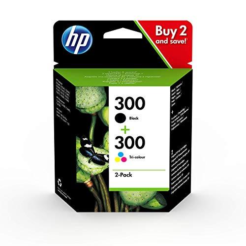 HP 300 Combo Pack CN637EE Pack de 2 cartouches, 1 noir et 1 couleur compatible avec les imprimantes à jet d'encre DeskJet D2560, D2660, F4280, F4224, F4283 et Photosmart C Series, noir et trichomie
