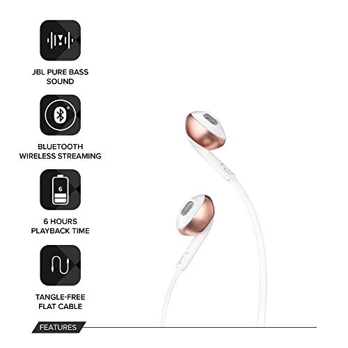 JBL T205BT Pure Bass Wireless Metal Earbud Headphones with Mic (Rose Gold) Image 2