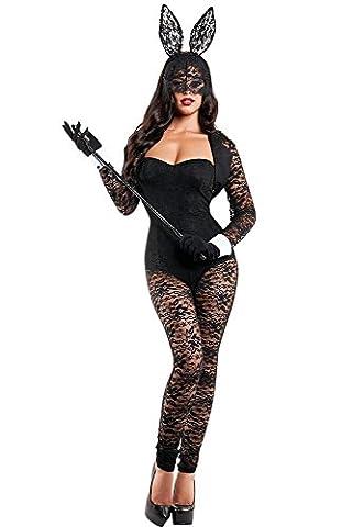 Women Black 4 Piece Jumpsuit Bunny Costume Fancy Dress Halloween Hen Night Party Size S UK 8-10 EU 36-38