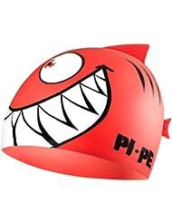 Pi-Pe - Gorro de bao infantil, diseo de tiburn rojo rojo Talla:talla nica