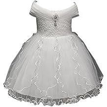 ZAMME Vestido de las muchachas de las flores de la boda de Tulle del cordón de la primera comunión de las muchachas blanco
