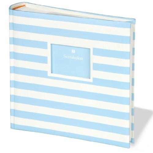 Semikolon Jumbo Album Baby Blue (Blau-weiß gestreift) | Baby-Foto-Album | Mit 100 Seiten | Foto-Buch zum einkleben mit 50 Blättern cremeweißem Fotokarton mit Pergaminpapier | Format: 30 x 30 cm (Foto Album Baby)