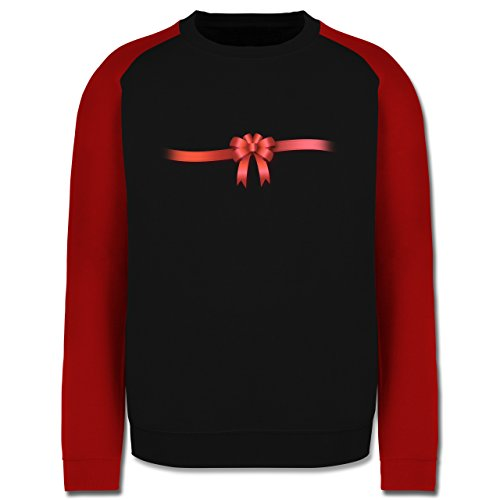 Valentinstag - Ich bin ein Geschenk - Schleife - Herren Baseball Pullover Schwarz/Rot