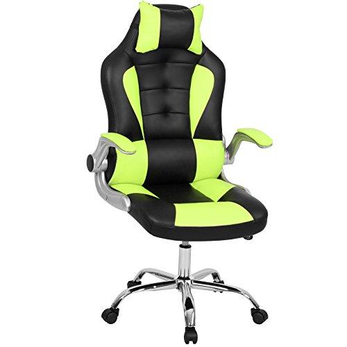 Sedia Poltrona Girevole.Miadomodo Sedia Poltrona Girevole Da Ufficio Gaming E Computer Ergonomica In Similpelle Con Poggiatesta E Braccioli Regolabili Colore Verde