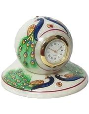 eCraftIndia Peocock Designed Marble Table Clock