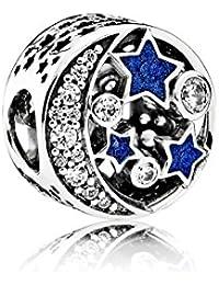 Pandora 791992CZ Vintage Nachthimmel mit Sterne und Mond Charm - Winter Neuheit 2016