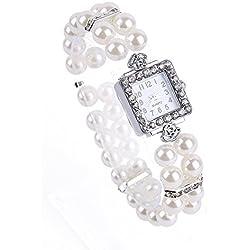 FACILLA® Metal Pearl Crystal Bracelet Bangle Stretch Square Dial Wristwatch Wrist Watch