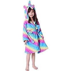 LANTOP Bata Suave para Niños Cómodo Unicornio Franela Encapuchado Regalo Ropa De Dormir Cuatro Estaciones