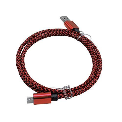 Fjiujin,Cavo Intrecciato di Ricarica Rapida per Cavo Dati MicroMobile  2M(Color:Rosso)