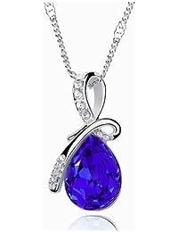 Rhodiniert Silber plattier Dark Sapphire Edelstein Tropfenform Anhänger Charme Halskette