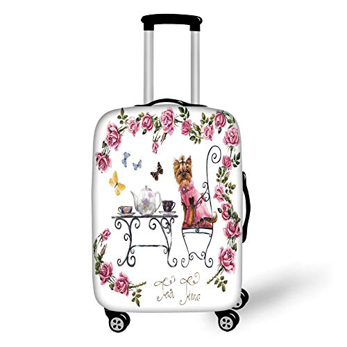 Travel Luggage Cover Suitcase Protector,Yorkie,Yorkshire Terrier in Pink Dress Having a Tea Party Tea Time Butterflies Roses Decorative,Pale Pink White,for Travel L -