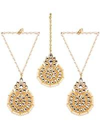 Bindhani Traditional Gold Plated Earrings Maang Tika Earings Mang Tikka Set Jewellery For Women & Girls