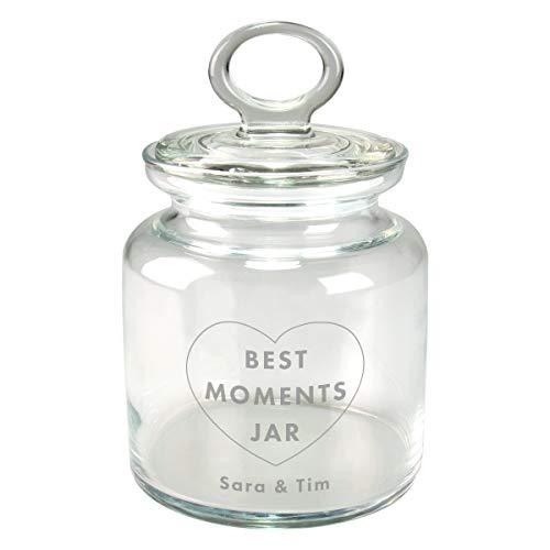 Memories in a Jar (Best Moments): graviertes Geschenk-Glas für Briefchen und Erinnerungen/personalisiert und individuell, Verschiedene Designs, mit Name und Datum zum Valentinstag für Paare