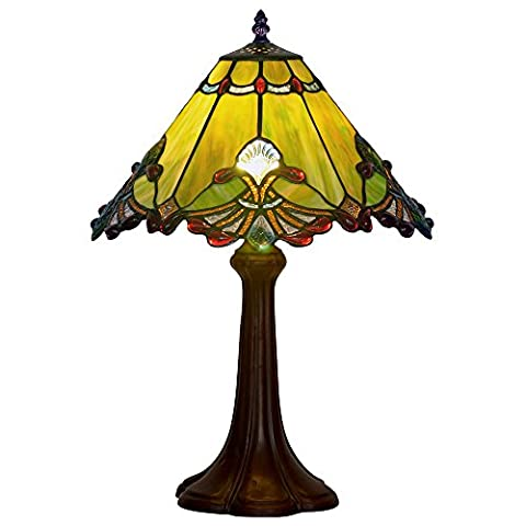 Bieye Tiffany Style Stained Glass Baroque Table Lamp with Zinc Lamp Base and 13 inches Handmade Lamp Shade (Green)