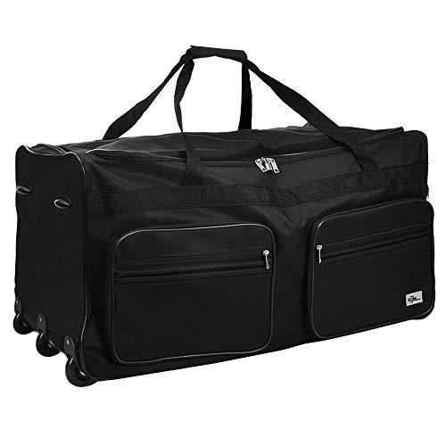 DEUBA XXL Reisetasche | 160L | Trolleyfunktion | Teleskopgriff | Schwarz | Duffle Bag Sporttasche Reisegepäck Gepäcktasche