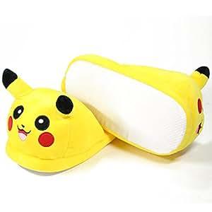 Carchet 1707 - Witzige Pokemon Onesize Haus-Schuhe aus Plüsch für Erwachsene in vielen Designs, Pikachu - hinten offen, gelb