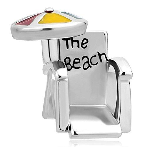 Uniqueen - ciondoli per bracciali a tema estivo: sedia sdraio da spiaggia, ombrellone e acciaio inossidabile, colore: yellow, cod. uq_dpc_my867
