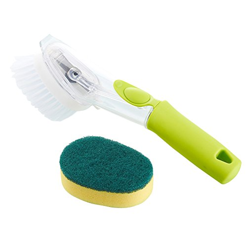 morehappy7Reinigungsbürste mit Spülmittel, 2in1antibakteriell langer Griff eingezogen und Schwamm Küche Waschen Tools mit Ersatz Kopf für Reinigung Antihaft-Topf Schüssel, Spüle Scrubber