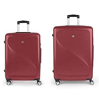 Gabol – Sand | Juego de Maletas de Viaje Rigidas de Color Rojo con Trolley Mediano y Trolley Grande
