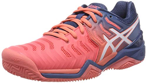ASICS Gel-Resolution 7 Clay, Scarpe da Tennis Donna, Rosso (Papaya/White 701), 39 EU