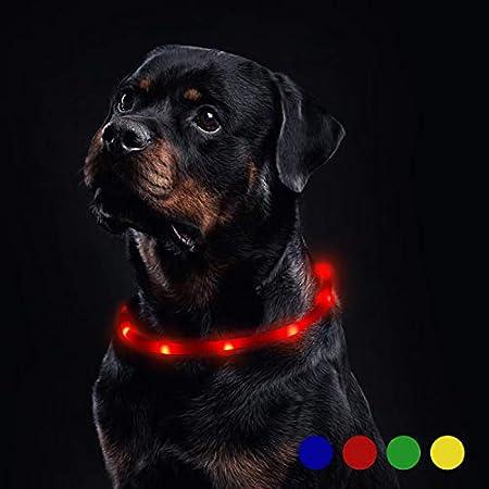 Toozey LED Leuchthalsband Hund für 20 Stunden Dauerlicht Wasserdicht (Verbesserte), USB Wiederaufladbar Schneidbar Nacht-Sicherheit Hundehalsband Leuchtband für Hunde und Katzen – 3 Modus
