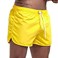 Men Solid Sport Shorts Swim, Male Spring and Summer Splicing Swimming Trousers and Beach Surfing Shorts