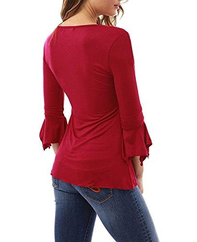a7a7d5a6b463c8 ... Elegante Maglietta Manica Tunica Bottone Camicia Manica 3/4 a Foglia di  Loto Scollo V Casual T-Shirt Tops Blusa Rosso IT 46. Visualizza le immagini