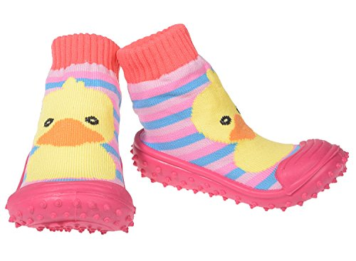 Baby Hausschuhe Babysocken ABS Gummisohle Babyschuhe Antirutsch Gr.19-23(9-24Monate) Badeschuhe versch.Farbe Ente Rosa