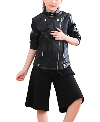 YoungSoul Chaqueta de cuero sintético con cremallera asimétrica para infantil niñas, Cazadoras de moto de imitación cuero primavera e otoño