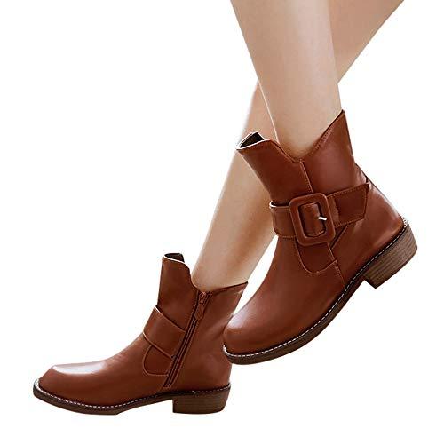 TianWlio Stiefel Frauen Herbst Winter Schuhe Stiefeletten Boots Europäische Retro Feste Flache Bowknot Stiefeletten Runde Zehen Schuhe Braun 36